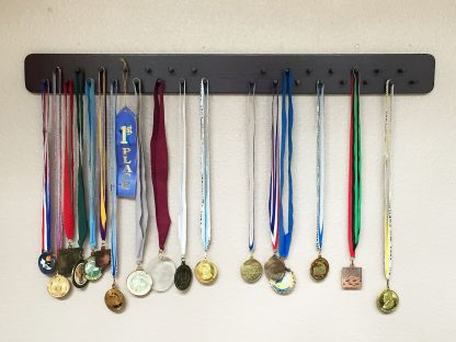 "ActionCraftworks.com 30 peg, 36"" wide, double row, rounded corners, sports medals display rack, rosewood, front"