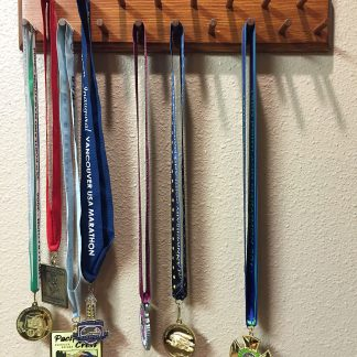 """ActionCraftworks.com 17 peg, 18"""" wide, double row, bevelled edges, sports medals display rack, front"""