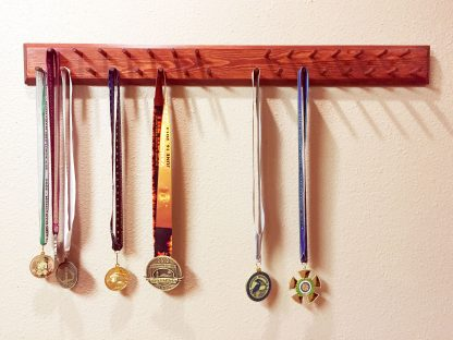 "ActionCraftworks.com 30 peg, 36"" wide, double row, bevelled edges, sports medals display rack, front"