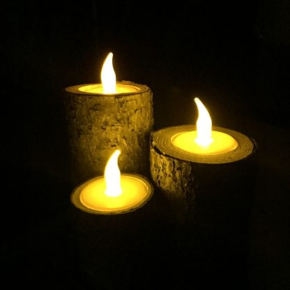 ActionCraftworks.com 3 rustic wood candle holders, night, flat base