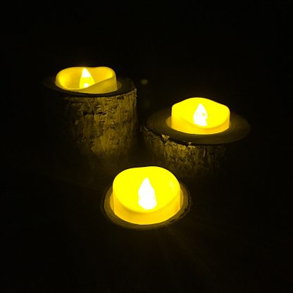 ActionCraftworks.com 3 rustic wood candle holders, night, melted edge