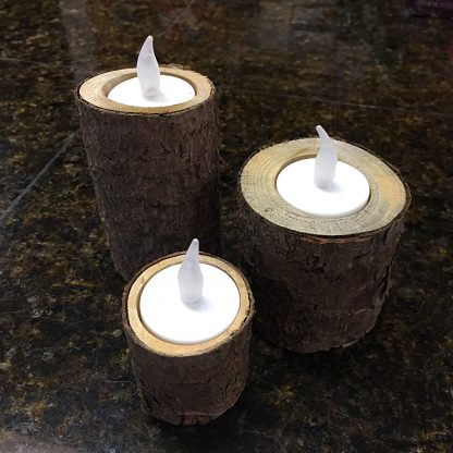ActionCraftworks.com 3 rustic wood candle holders, day, flat base