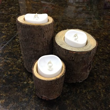 ActionCraftworks.com 3 rustic wood candle holders, day, melted edge